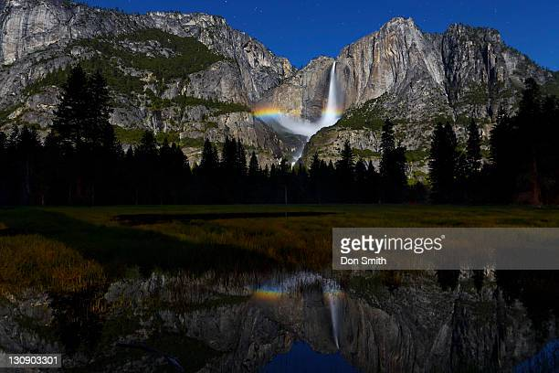 yosemite falls moonbow and reflection - moonbow ストックフォトと画像