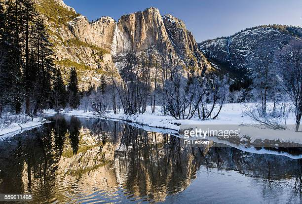 yosemite falls winter reflection - leckert stock pictures, royalty-free photos & images