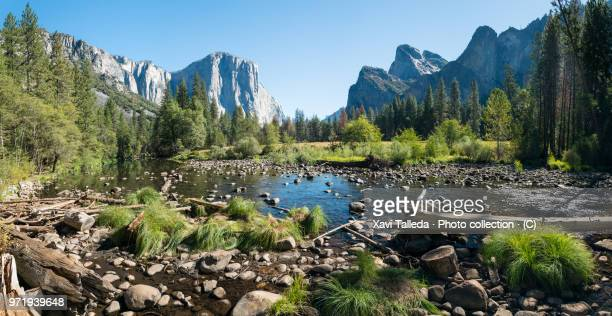 yosemite landscape seen from merced river - yosemite valley stock photos and pictures