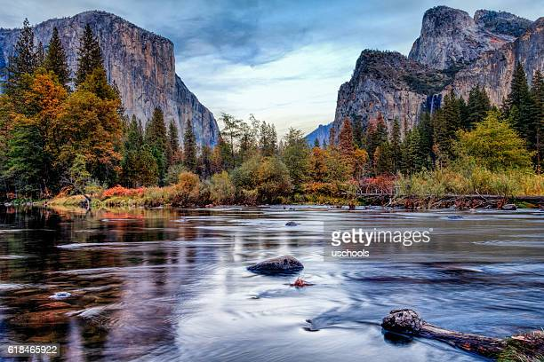 yosemite merced river el capitan panorama - national landmark stock pictures, royalty-free photos & images