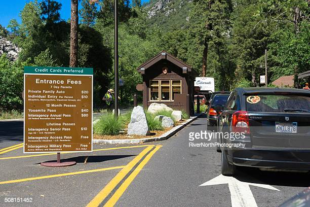 yosemite national park in california - entrance sign stock photos and pictures