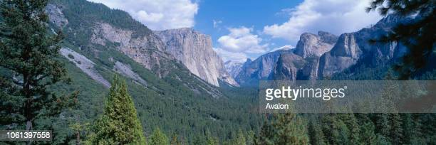 Yosemite National Park Valley with El Capitan and Half Dome California USA