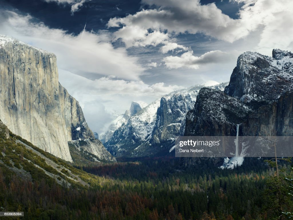 yosemite national park with snow covering half dome and el capitan