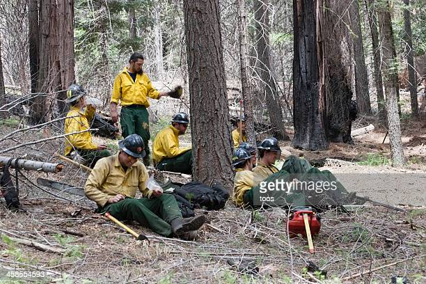 Yosemite park Firefighters on lunch break
