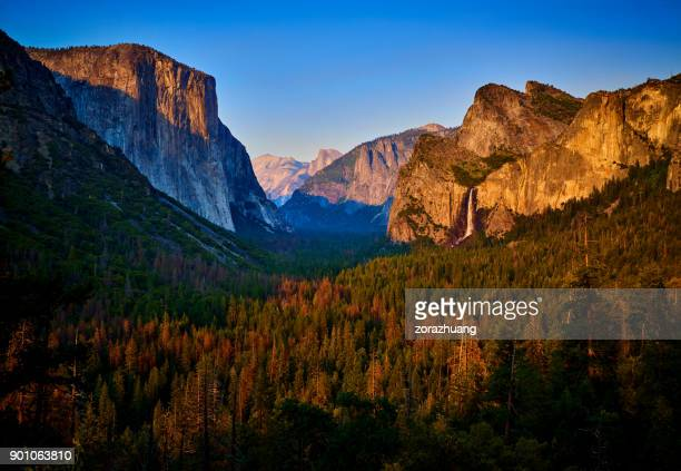 yosemite valley at sunset, california, usa - yosemite valley stock photos and pictures