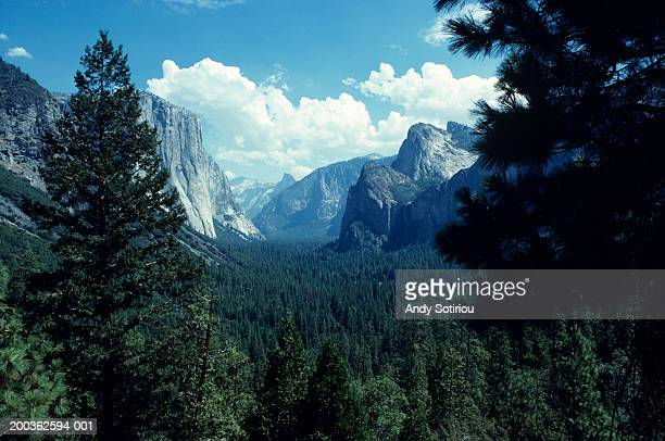 yosemite valley, california, usa, elevated view - national park stock pictures, royalty-free photos & images