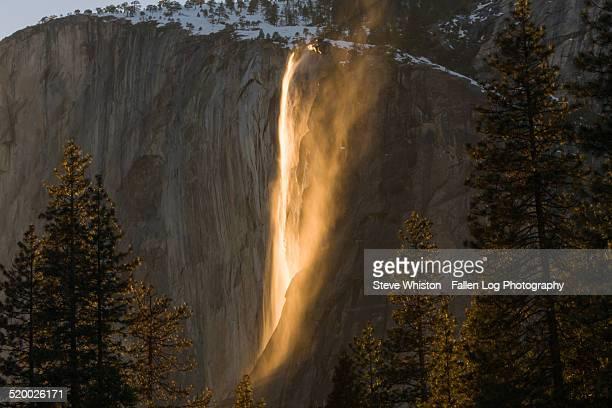 Yosemite waterfall at sunset