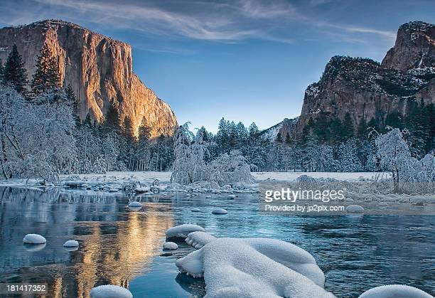 yosemite winter at the gates - yosemite valley stock photos and pictures