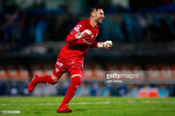 Yosgart Gutierrez of Necaxa celebrates after the third goal of his team during the match between Pumas UNAM and Necaxa as part of the Copa MX...