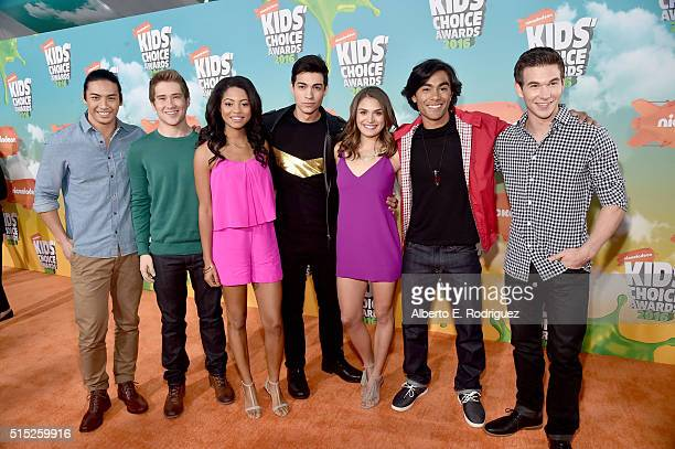 Yoshi Sudarso Michael Taber Camille Hyde Davi Santos Claire Blackwelder Brennan Mejia and James Davies of Power Rangers Dino Charge attend...