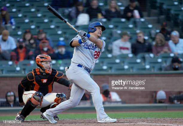 Yoshi Tsutsugo of the Los Angeles Dodgers pinch hits and flies out to right field against the San Francisco Giants in the ninth inning at Oracle Park...