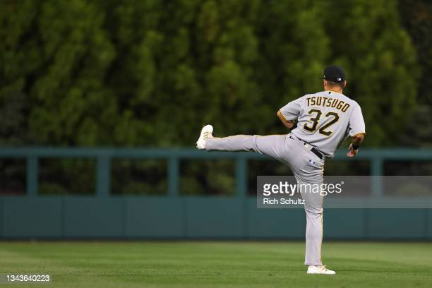 Yoshi Tsutsugo of the Pittsburgh Pirates warms up before a game against the Philadelphia Phillies at Citizens Bank Park on September 24, 2021 in...