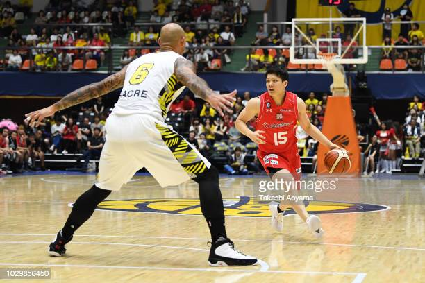 Yoshiaki Fujinaga of Chiba Jets drives to the basket during the B.League Early Cup Kanto 3rd Place Game between Chiba Jets and Sun Rockers Shibuya at...