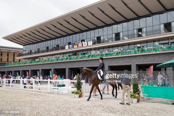 Yoshiaki Oiwa of Japan rides Bart L JRA in the Dressage during day one of the Equestrian Tokyo 2020 Test Event at the Equestrian Park on August 12,...