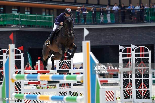 Yoshiaki Oiwa of Japan riding Bart L JRA competes in the Jumping during day three of the Equestrian Tokyo 2020 Test Event at the Equestrian Park on...