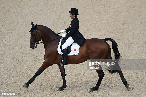 Yoshiaki Oiwa of Japan riding The Duke Of Cavan competes in the Eventing Individual Dressage event during equestrian on Day 2 of the Rio 2016 Olympic...