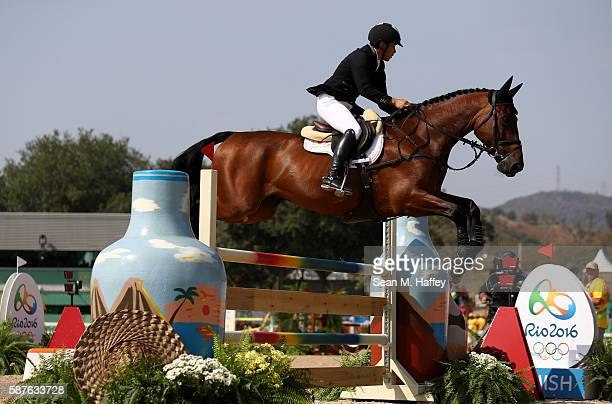 Yoshiaki Oiwa of Japan riding The Duke Of Cavan during the eventing team jumping final and individual qualifier on Day 4 of the Rio 2016 Olympic...