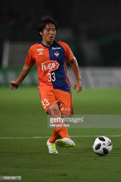 Yoshiaki Takagi of Albirex Niigata in action during the J.League J2 match between Tokyo Verdy and Albirex Niigata at Ajinomoto Stadium on July 25,...