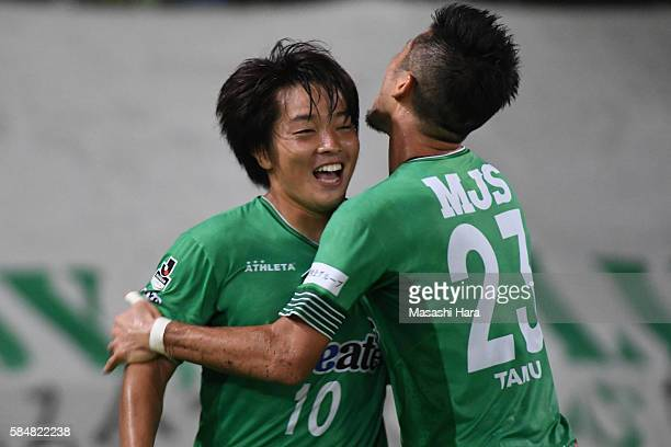 Yoshiaki Takagi of Tokyo Verdy celebrates the first goal during the J.League second division match between Tokyo Verdy and Roasso Kumamoto at the...
