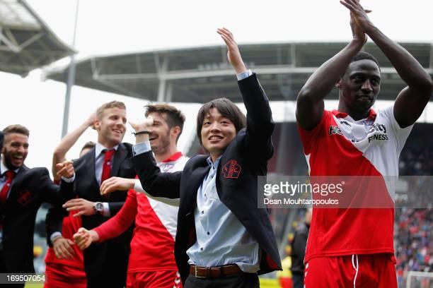 Yoshiaki Takagi of Utrecht celebrates with team mates after winning the Eredivisie Europa League Play off match between FC Utrecht and FC Twente at...