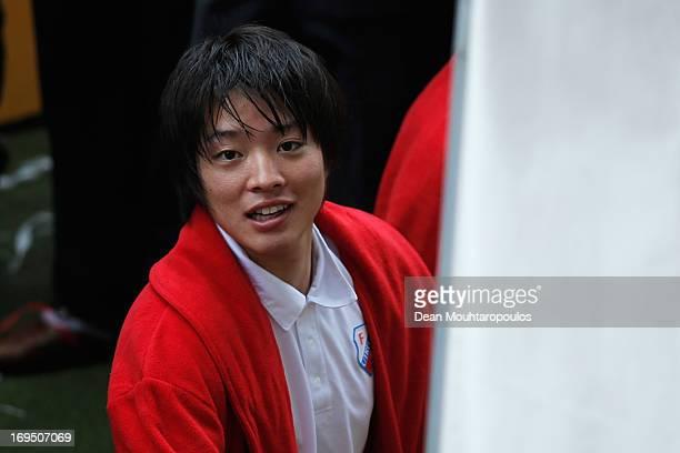 Yoshiaki Takagi of Utrecht looks on after he celebrates winning the Eredivisie Europa League Play off match between FC Utrecht and FC Twente at...