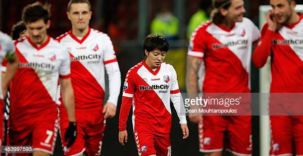 Yoshiaki Takagi of Utrecht walks off the ground after victory in the Dutch Eredivisie match between FC Utrecht and NEC Nijmegen held at Stadion...