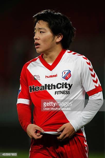 Yoshiaki Takagi of Utrecht walks off the ground after victory in the Dutch Eredivisie match between FC Utrecht and NEC Nijmegen held at Stadion...