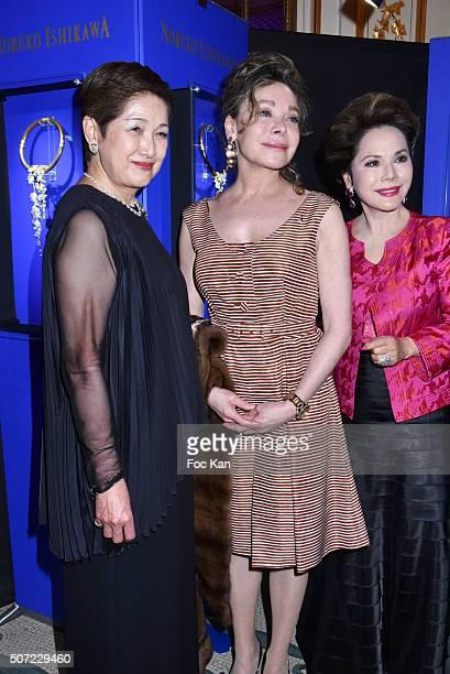 Yoshie Ishikawa Grace de Capitani and Dewi Sukarno attend the Nobuku Ishikawa Jewellery Exhibition Cocktail at Le Meurice as part of Paris Fashion...