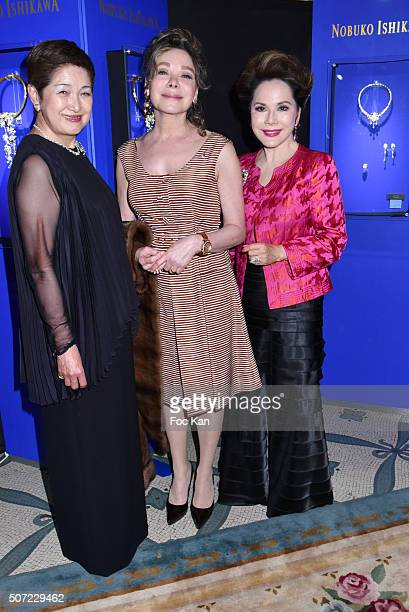 Yoshie Ishikawa Grace de Capitani and Dewi Sukarno attend the Nobuku Ishikawa Jewellery Exhibition Cocktail at Le Meurice as part of Paris Fashion...