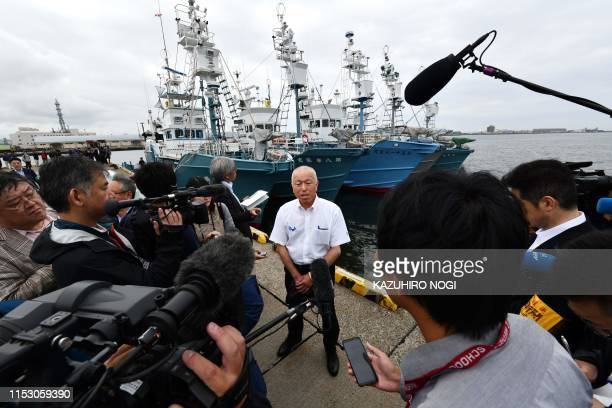 Yoshifumi Kai head of the Japan SmallType Whaling Association speaks to reporters prior to a departure ceremony at a port in Kushiro Hokkaido...