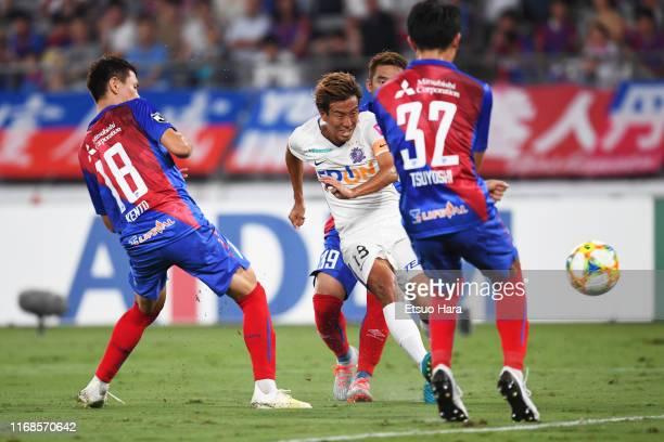 Yoshifumi Kashiwa of Sanfrecce Hiroshima scores his side's first goal during the J.League J1 match between FC Tokyo and Sanfrecce Hiroshima at...