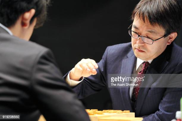 Yoshiharu Habu makes a move against Sota Fujii in their semifinal match of the Asahi Cup competition on February 17 2018 in Tokyo Japan