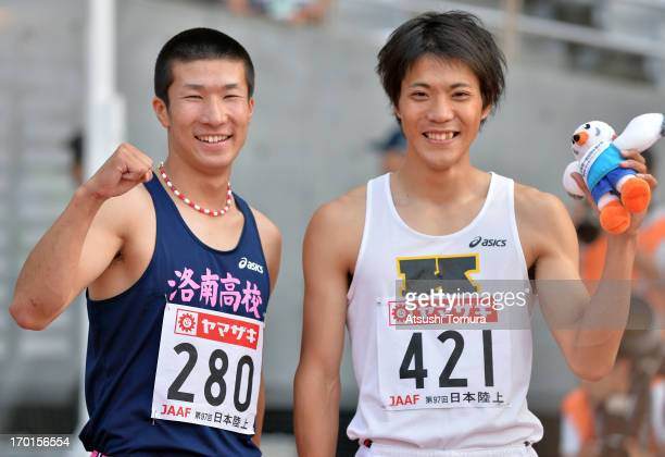 Yoshihide Kiryu and Ryota Yamagata of Japan smiles for the camera after the Men's 100m sprint on day two of the 97th Japan Track and Field...