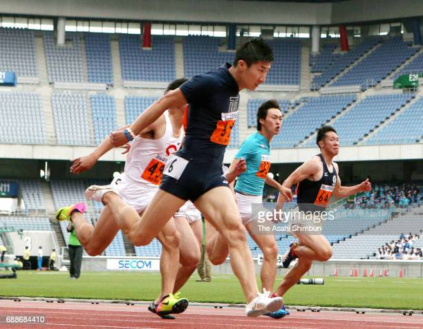 Yoshihide Kiryu competes in the Men's 100m during the 96th Kanto Inter Collegiate Track And Field at Nissan Stadium on May 26 2017 in Yokohama...