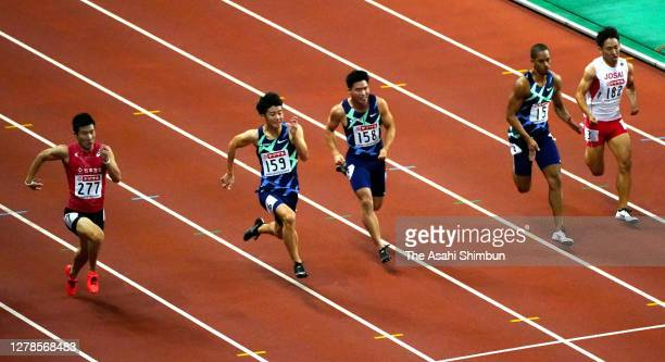 Yoshihide Kiryu competes in the Men's 100m final on day two of the 104th JAAF Athletics Championships at Denka Big Swan on October 2, 2020 in...