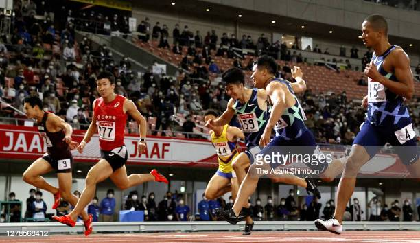 Yoshihide Kiryu crosses the finish line to win the Men's 100m final on day two of the 104th JAAF Athletics Championships at Denka Big Swan on October...