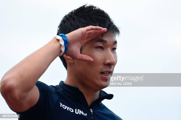 Yoshihide Kiryu of Japan celebrates after winning the men's 100 metres in the Josef Odlozil Memorial athletic meeting EA Premium on June 5, 2017 in...
