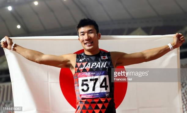 Yoshihide Kiryu of Japan celebrates after winning the men's 100m final during day two of the 23rd Asian Athletics Championships at Khalifa...