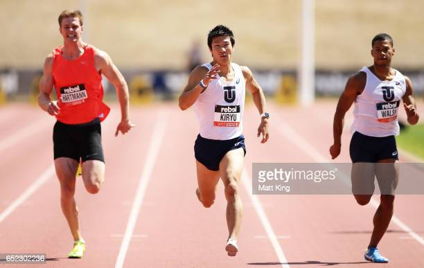 Yoshihide Kiryu of Japan competes in the Men's 200m A Final during the SUMMERofATHS Grand Prix on March 12 2017 in Canberra Australia