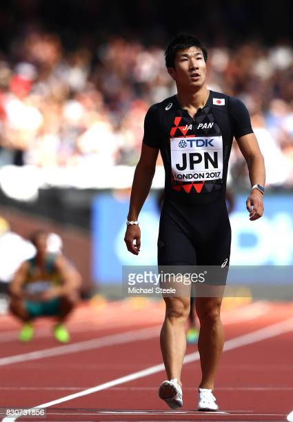 Yoshihide Kiryu of Japan competes in the Men's 4x100 Metres Relay heats during day nine of the 16th IAAF World Athletics Championships London 2017 at...