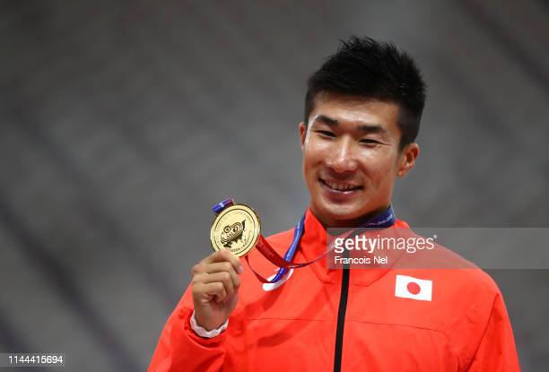 Yoshihide Kiryu of Japan poses with the gold medal after winning the men's 100m final during day two of the 23rd Asian Athletics Championships at...