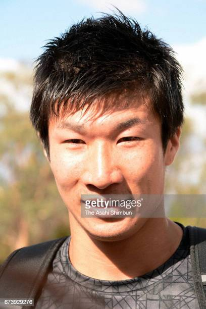 Yoshihide Kiryu of Japan speaks after competing in the Men's 100m during the SUMMERofATHS Grand Prix on March 11 2017 in Canberra Australia
