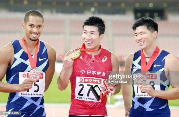 Yoshihide Kiryu poses with his gold medal after winning the men's 100-meter sprint at the national athletics championships at Denka Big Swan Stadium...