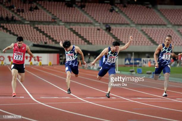 Yoshihide Kiryu, Shuhei Tada, Yuki Koike and Aska Cambridge compete in the Men's 100m final on day two of the 104th JAAF Athletics Championships at...