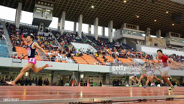 Yoshihide Kiryu wins in the Men's 200m during the JAAF Junior Youth Championships at Mizuho Stadium on October 20, 2013 in Nagoya, Aichi, Japan.