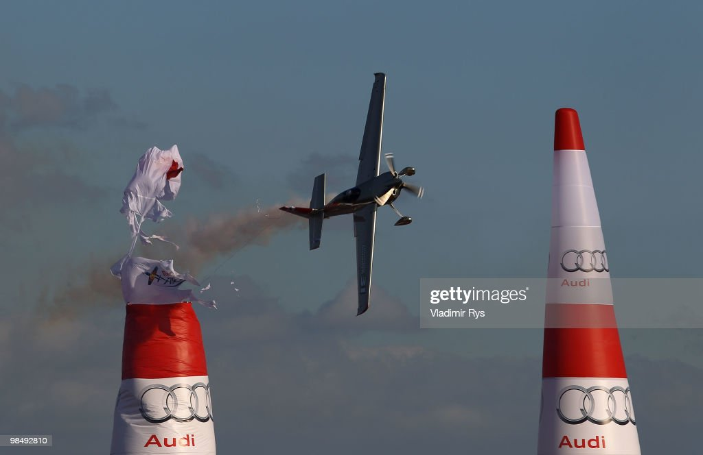 Yoshihide Muroya of Japan hits an Air Gate during the Red Bull Air Race Training Day Two on April 16, 2010 in Perth, Australia.