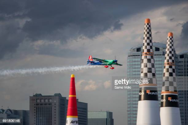 Yoshihide Muroya of Japan performs during the qualifying day at the third stage of the Red Bull Air Race World Championship on June 3 2017 in Chiba...