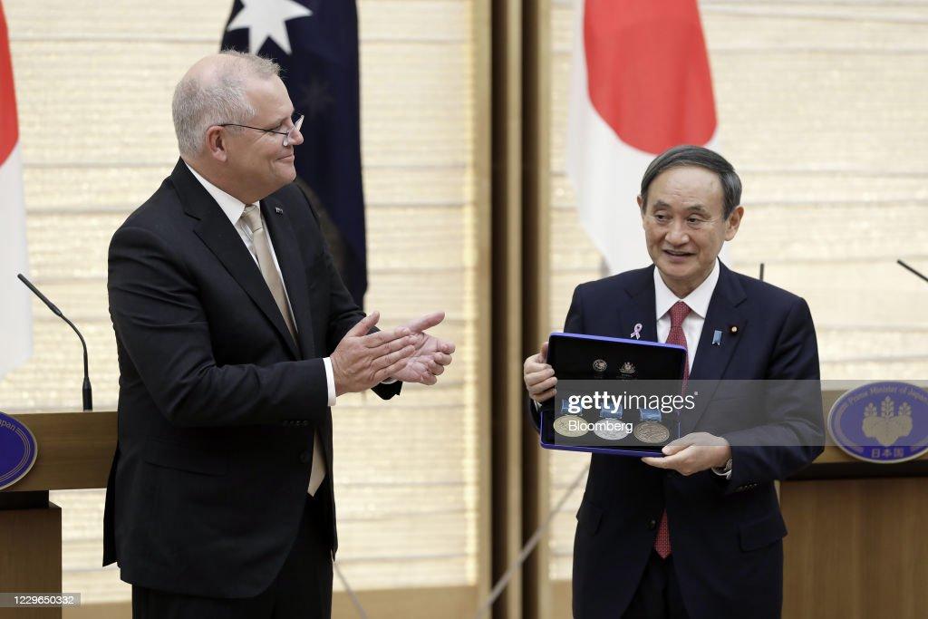 Japan's Prime Minister Yoshihide Suga Meets Australian Prime Minister Scott Morrison : News Photo