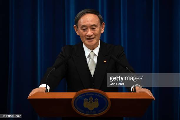 Yoshihide Suga speaks during a press conference following his confirmation as prime minister of Japan on September 16 2020 in Tokyo Japan Mr Suga...