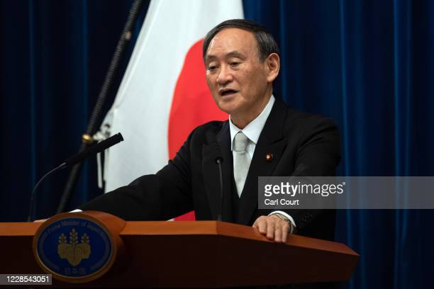 Yoshihide Suga speaks during a press conference following his confirmation as prime minister of Japan on September 16, 2020 in Tokyo, Japan. Mr Suga...
